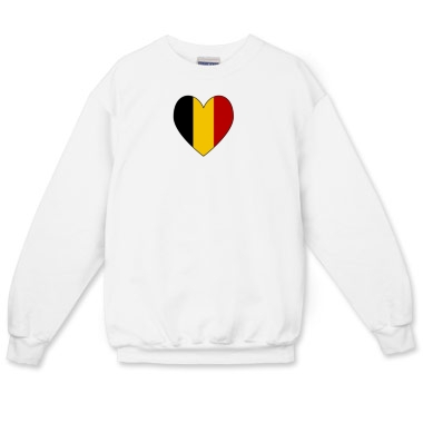 Picture of long sleeved crew neck sweatshirt with a heart shpaed Flag of Belgium from Flagnation or Flags of Nations at printfection.com