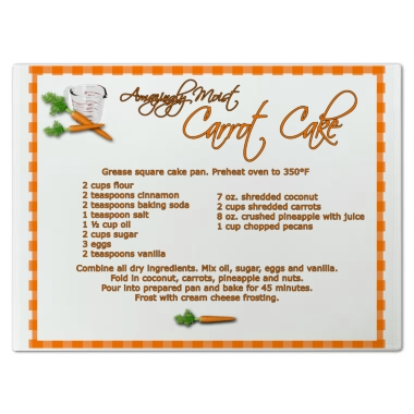 Carrot Cake Recipe Cutting Board