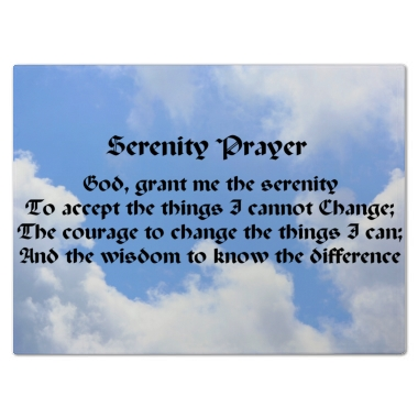 Serenity Prayer Blue Sky Cutting Board