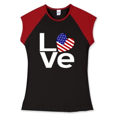 Picture of women's fitted cap sleeve T with white letters USA LOVE design from printfection.com/flagnation