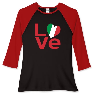 Picture of red and black women's fitted baseball jersey with the Italian LOVE design from print.flagnation.com
