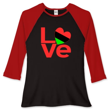 Picture of long sleeved womens' fitted baseball jersey with the African American LOVE design from print.flagnation.com