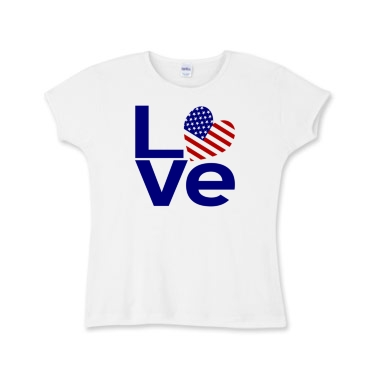 Picture of USA in Blue LOVE Girl's Baby Rib T-Shirt