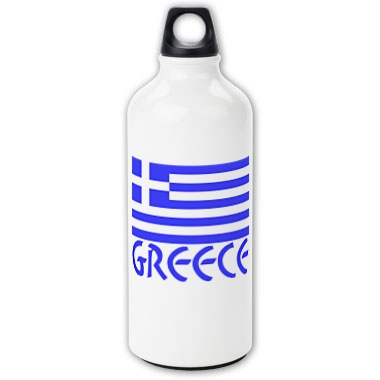 Aluminum water bottle with the Greek Flag and the name