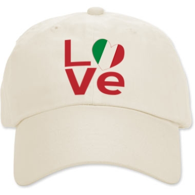 Picture of almond colored cap with Italian LOVE design from print.flagnation.com