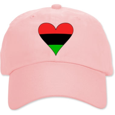 Pink cap with funky heartt shaped Flag of the African Diaspora from printfection.com/flagnation