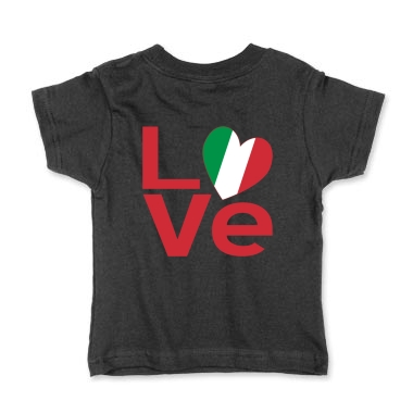 Picture of black toddler tee with Italian LOVE design on the back from print.flagnation.com