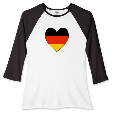 Picture of the German Flag Heart Valentine on a women's long sleeve baseball tee.
