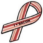 "Are you Pro-Bacon?  Wear a ""support ribbon"" that will make people do a double-take!"