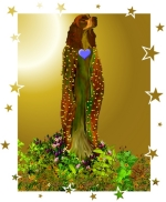 The Doggess stands among flowers and vines in her cloak of stars to bring love into your heart. Wear her and spread the joy that is dog.