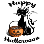 <h1><font size=&quot;2&quot;>Halloween black cat t-shirts, sweatshirts & trick or treat tote bags.  For Halloween earrings, gifts, mugs & travel mugs<b>