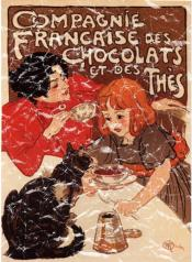 A vintage poster for chocolate and teas by French artist T.A. Steinlen is from 1899. The design has a lightly distressed appearance as though you've had it for years.