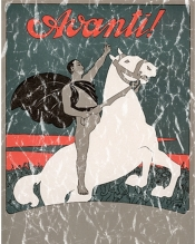 A rearing white horse and black caped rider. This poster advertised the socialist party newsletter published from 1896 to 1955. It's most well known editor was Mussolini. The design has a lightly distressed appearance for a more aged look.