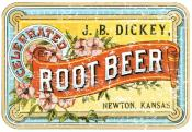 J.B.Dickey Root Beer is a vintage advertisement from 1899. The design has a lightly distressed appearance as though you've had it for years.