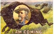 "William Frederick ""Buffalo Bill"" Cody was an American soldier, bison hunter and showman. One of the most colorful figures of the Old West, and famous for his shows . The design has a lightly distressed appearance as though you've had it for years."