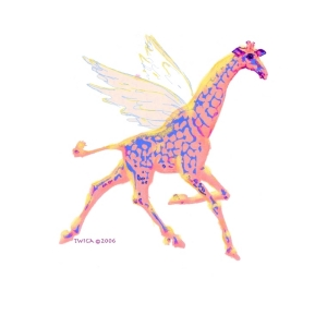 A Giraffe (Twiga in Swahili) with wings!  Fantasy fairyland flying giraffe, scroll down to see her on t-shirts,mousepads,cutting boards,bags,aprons and other great whimsical gift ideas.