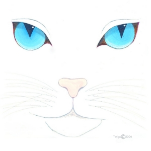 A beautiful blue eyed cat, white and fluffy.  The perfect gift for yourself or all the cat lovers you know.  Scroll down to see this precious kitty on mousepads, t-shirts and other fine apparel, cutting boards and coasters.