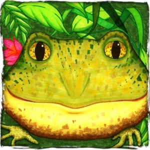 Cleopatra the Frog... with a beautifiul pink flower.  She likes it cool, damp and green.   The perfect gift for nature lovers and all kids.  Click to see her on t-shirts,bags,mousepads, glass cutting boards and coasters.