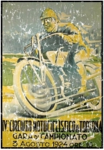 A vintage poster for the Circuito Motociclistico in 1924. This motorcycle race in Italy is still run every year. The design has a lightly distressed look as though you've had it for years.