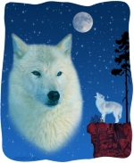 A beautiful white wolf, revered by Native Americans for his wisdom, looks awesome in the moonlight against a starry sky.  A second wolf is howling at the glowing moon. This is one design you will want for yourself, as well as for gifts to special people.