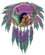 "The ""Eagle Maiden"" in this design is a Native American girl who has a special spiritual connection with the eagles. A tranquil scene that is done beautifully in purples and teals.  Makes a lovely gift!"
