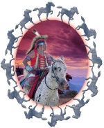 A Native American Indian warrior on his pony takes a ride at sunset in this design done in a special watercolor style; horses race around the outside edge. Makes a brilliantly-colored gift!