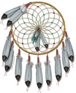 The legendary Native American Dream Catcher catches the bad dreams in its web, and allows the good dreams to slip thru and slide down a feather to the sleeper.