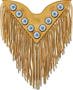 Nothing looks more beautiful than the deerskin clothing with long fringe, decorated with silver and turquoise conchos for a festive look in Native American clothing.  This unique adaptation gives our items a look reminiscent of Indian ceremonial styles.