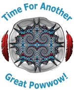 "Beautiful shadowbox silver design, featuring turquoise, coral and silver, with two red feathers to balance out the design, and text ""Time for Another Great Powwow!"" completes a design that is sure to get noticed.  Makes a great gift for any powwow lover!"