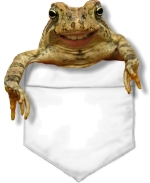A toad with a goofy smile sits in the pocket. Take this funny guy with you put a smile on everyone you meet.