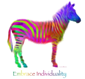 "Beautiful psychedelic stripes and a frisky look in his eye, this Zebra follows no rules!  Zebras cannot be tamed or trained, and are truly wild. Let this rainbow wild one help proclaim your right to be uniquely ""YOU""!  T-shirts and other great gifts!"