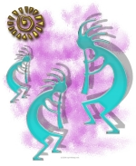 This Native American style design features three turquoise Kokopelli playing their flutes and enjoying the sun.