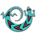 The Spinning Lizard is a very popular Native American symbol (Navajo & other Indian tribes) and is seen throughout Southwestern design. Here, he is shown in turquoise, coral and onyx (black), spinning in a circular motion. Of course!