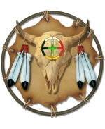 This shield is a realistic-looking design using bison skull with the four directions, a piece of hide tied on a frame, and eagle feathers. A perfect gift idea, and give yourself one, too! Don't miss a glass cutting board for your kitchen, and more!
