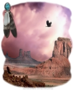 An eagle flies ahead of a storm in Monument Valley, AZ, with a bit of turquoise and a couple of eagle feathers added for a Native American touch. This is awesome if you love the Arizona landscape!  A great holiday gift or get one just for you!