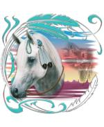 A Native American Pony, adorned with turquoise and feathers, and a backdrop of Southwestern Monument Valley, AZ, landscape, with a pueblo ghosted in the sunset sky. A very popular and beautiful design for horse lovers!