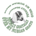 Goat Breed featured on this cool spiral design with the Goat Portrait inside- Totally Goatally over my Nubian Goats- Makes great Birthday gift for goat owners, Perfect for Christmas gift giving too.