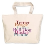 Animals of nature and pets are found of this great jumbo tote bag. We can add your dog's breed and name as a customized tote. Email mkfcox@casscomm.com for information.