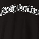 Represent North Carolina with this Olde English style design. Available in several colors - click an item to select your color! Exclusive to WhereTees.com.