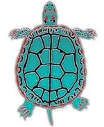 The Turquoise Turtle design is dedicated to the various tribes in the Turtle clan.  The turtle has become a revered symbol of Mother Earth, based on ancient legends of the Turtle Clan tribes. See our apparel in many colors, and housewares, too!