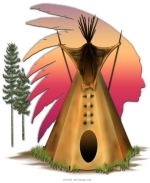 The Tipi Chief Design is a popular one, and features a tipi and the silhouette of the sunset in the shape of a chief's headdress. See t-shirts and sweatshirts in many colors for men, women, boys and girls, and also housewares. A great gift idea, too!