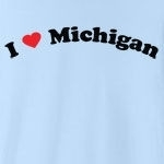 "Call it ""I love Michigan"", or ""I heart Michigan,"" or whatever you like, this is the only way of showing your love for Michigan that you should consider. Exclusive design featuring cool curved text with a strong red heart."