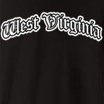 Represent West Virginia with this Olde English style design. Available in several colors - click an item to select your color! Exclusive to WhereTees.com.