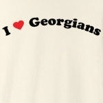 "Call it ""I love Georgians"", or ""I heart Georgians,"", this is how you can show your love for Georgians. Exclusive design featuring cool curved text with a strong red heart."