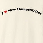 "Call it ""I love New Hampshirites"" or ""I heart New Hampshirites,"" this is how you can show your love for New Hampshirites. Exclusive design featuring cool curved text with a strong red heart."