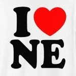 "A classic way to show how much you (heart) Nebraska, this cool design will never grow old! Featuring ""I (heart) NE."" in big, bold letters, and a strong red heart, this is the perfect way to show how much you love Nebraska."