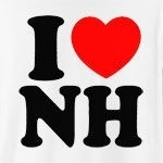 "A classic way to show how much you (heart) New Hampshire, this cool design will never grow old! Featuring ""I (heart) NH."" in big, bold letters, and a strong red heart, this is the perfect way to show how much you love New Hampshire."