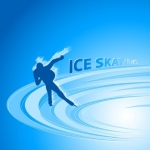 Skater silhouette on the ice track. Digital illustration on shiny blue background.