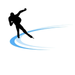 Skater silhouette on the ice track. Digital illustration.