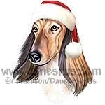 Red Afghan Hound from Danes-R-Us wears a Festive Santa Claus hat. This dog will help you get into the Holiday Spirit and spread some cheer this Christmas.